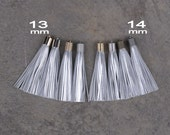 Metallic Silver Leather TASSEL in 13 or 14mm Cap -4 colors Plated Cap- Pick cap size, cap color & trimmed size