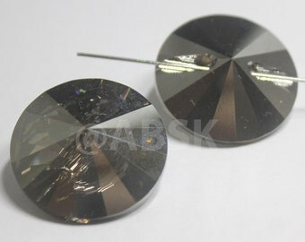 1 piece Genuine Swarovski 3015 27MM RIVOLI Button - CLEAR SATIN Mirrored Foiled