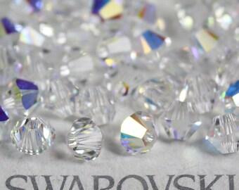 144 pieces Genuine Swarovski Crystal 5328 5301 2.5mm Xilion Bicone Beads CLEAR AB