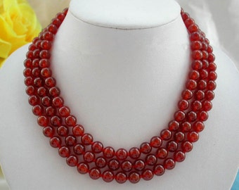 Free shipping - triple strand 8mm red agate necklace, 17-19inch
