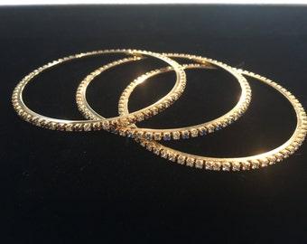 Vintage rhinestone bracelet jewelry lot tribal gypsy boho bangle stacks