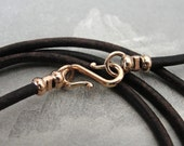 Leather necklace cord with bronze clasp for RQP Studio wax seal jewelry - antique brown-black 18 inch 2mm wide