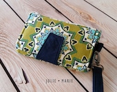 Handcrafted Clutch Wallet - Organic Cotton - Teal and green mandala *seconds sale*