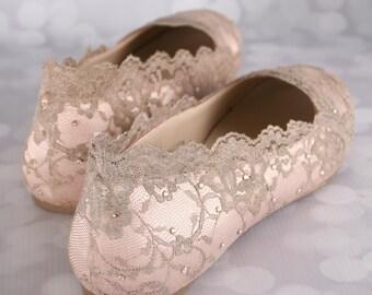 Wedding Shoes, Blush Wedding Shoes, Wedding Shoe Flats, Gold Lace Wedding, Bling Wedding Shoes, Blush Wedding Ideas, Bridal Lace Shoes