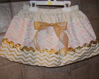 Girls Skirt Custom skirt...Coral N Gold Chevron..Available in 0-12 months, 1/2, 3/4, 5/6, 7/8, 9/10 Bigger Sizes Available