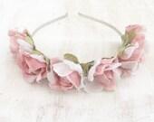 Powder pink flower crown - goth fairy - flowers - floral headband - boho - flower girl - festival