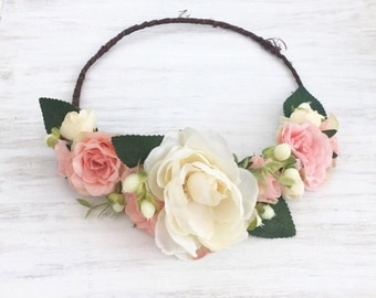 Beautiful coral pink/peach and ivory floral crown with green foliage, flower headband