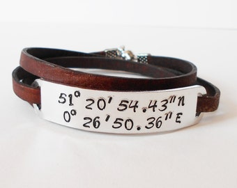 custom stamped coordinates leather wrap bracelet, aluminium ID tag bracelet, personalised leather multiwrap bracelet, gift for him her