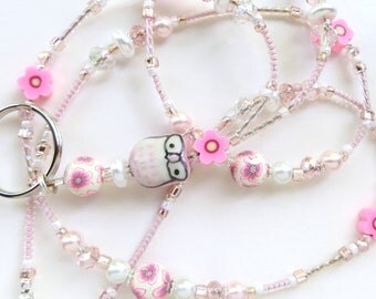 PRETTY PINK OWL- Beaded Id Lanyard- Porcelain Owl, Polymer Clay, Pearls, & Sparkling Crystals (Magnetic Clasp)