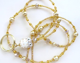 GREAT GOLD OWL- Beaded Id Lanyard and Badge Holder- Porcelain Owl, Pearls, and Sparkling Crystals (Magnetic Clasp or Comfort Created)