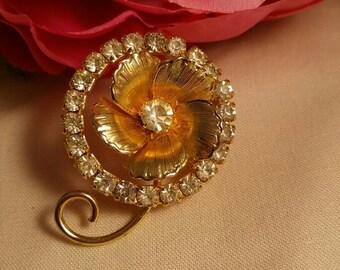Vintage Rose Brooch Rhinestones and Gold Flower sparkly midcentury Hollywood Regency