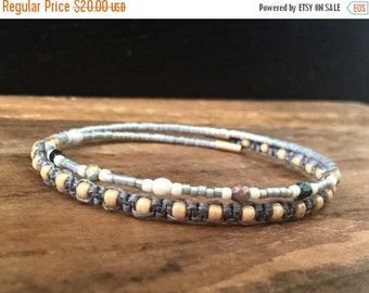 15%OFF VALENTINE SALE Macrame beaded memory wire wrap bracelet with gift envelope Gray
