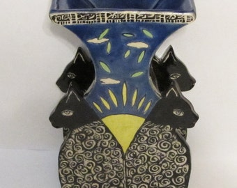 ceramic vase cat; ceramic art; hand built pottery