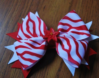 Red and White Zebra Striped with Spikes