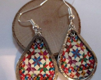 Paper Earrings - Quilt with Silver - paper jewelry