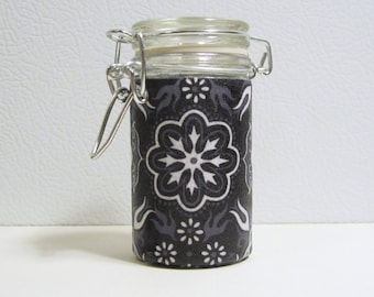 Small Glass Stash Jar : Latch-Top Jar - Tribal Black and White Heart Flower Flames