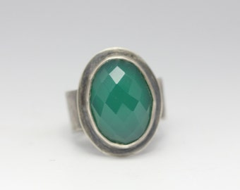 Green Onyx Ring, Sterling Silver Ring, Rose Cut Gemstone, Rustic Chic, Size 7.25