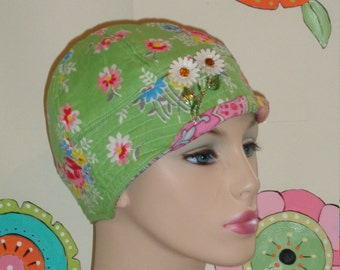 Chemotherapy Hat SALE.   Green Floral ( For Size Guide, see 'Item Details' below photos) SMALL/MEDIUM