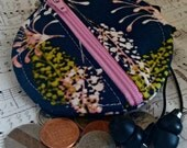 Earbuds Holder - Blue Floral Coin Purse - Key Ring - Detachable - Small Gift - Fully Lined - OOAK - Ready to Ship