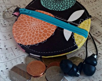 Earbuds Holder - Bold Floral Coin Purse - Key Ring - Detachable - Small Gift - Fully Lined - OOAK - Ready to Ship