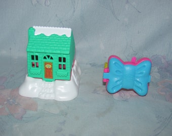1994/1995 Bluebird Polly Pocket McDonalds Premiums - Winter Chalet, Bow Shaped Watch/Bracelet - Fast Food Polly Toys