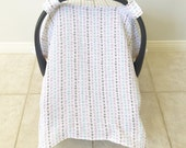 Car Seat Cover Canopy - Muslin Gauze Car Seat Cover - Infant Car Seat Cover - Light Airy Summer Cover - Chose Your Print - Baby Shower Gift