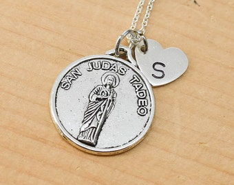 St Jude Necklace, Charm, St Jude Pendant, Initial Necklace, Personalized Necklace, Sterling Silver, Heart Charm Necklace, Bridesmaid Gift