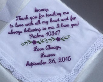 Embroidered Womans Handkerchief for the Bride's Grandmother