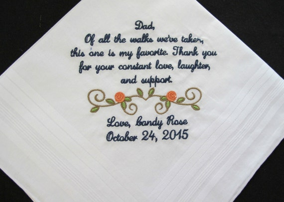 Embroidered Wedding Handkerchief for the Father of the Bride