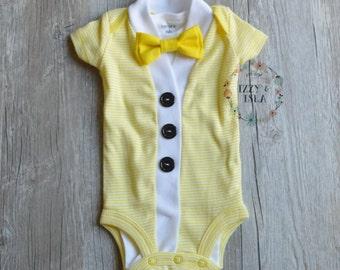 Baby Boy's Cardigan Onesie Set - Yellow Striped Short Sleeve Cardigan & Bow Tie Set- Little Mister Onesie Set-Little Boy Cardigan Set