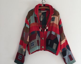 Vintage 90's Painted Pony Tapestry Coat / Claire Murray House Design Jacket L