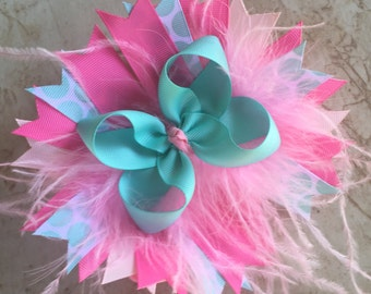Pink Feather Bow, Ostrich Puff Bow, Big Bow, Stacked Bow, Feather Bow, Polka Dot Bow, Over the Top, OTT Bow, Baby Bow, Pink and Aqua Bow