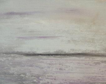 Abstract Minimalist Beach Original, Purple Lavender Gray, Ocean Landscape, Modern Art Ocean Landscape 18x24x2 Sherischart-Sheri Wilson