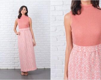 Vintage 70s Pink Maxi Dress Mod Geometric Silver Metallic Stretch Knit XS Small 7079 vintage dress pink dress maxi dress mod dress geo dress