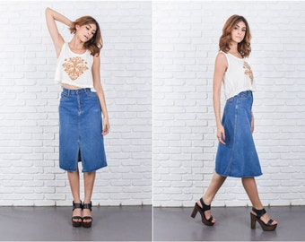 Vintage 80s 90s Blue Jean Denim Skirt XS High Waist A Line Knee length 7740 vintage skirt 80s skirt 90s skirt blue jean skirt xs skirt