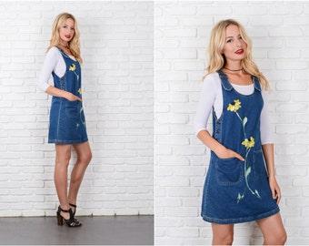 Denim Blue Jean Jumper Dress Vintage 80s 90s A Line Painted Flower Small S 8092