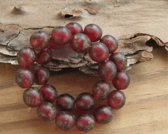 Translucent Matte Dark Red 8mm Round Beads with Picasso Czech Glass New (25)