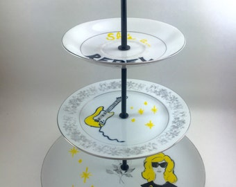 She's A Rebel Rock n' Roll Tidbit Tray Jewelry Display