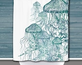 Jellyfish Shower Curtain: Two Tone Jellies Nautical Sea life Water Inspired | Made in the USA | 12 Hole Fabric Bathroom Decor