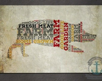 Placemat - Pig Farm | Rustic Barn Farmhouse Chic Decor | Anti Skid/Non Slip Fabric Top Rubber Backed Awesomeness