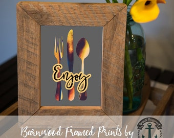 Enjoy Kitchen Utensils - Framed Print in Reclaimed Barnwood Bar and Kitchen Style - Handmade Ready to Hang | Size & Price via Dropdown