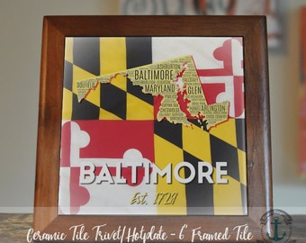 """Trivet Hot Plate:  Baltimore Maryland Flag  