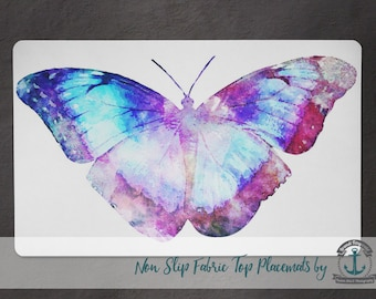 Placemat - Butterfly | Blue & Purple Nature Home Decor | Anti Skid/Non Slip Fabric Top Rubber Backed Awesomeness