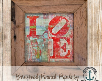Philadelphia Love, Bucks County - Framed in Reclaimed Barnwood Cities & Travel Decor - Handmade Ready to Hang | Size and Price via Dropdown
