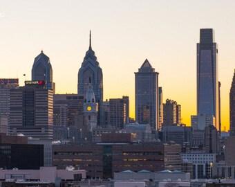 Philadelphia Skyline at Sundown Fine Art Photography Product Options and Pricing via Dropdown Menu