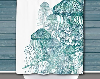 Jellyfish Shower Curtain: Two Tone Jellies Nautical Sea life Water Inspired   12 Eyelet/Button Hole   Size and Pricing via Dropdown