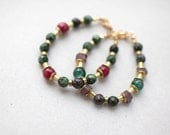 ONE Moss green Zoisite and marsala Rouge Ruby  beads bracelet, beaded bracelet, green bordo bracelet by pardes