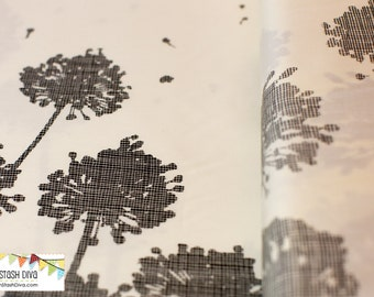 Avantgarde Collection - Grey Taraxacum Double Border Print Panel from Art Gallery - Choose Your Cut