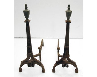 Antique bronze andirons