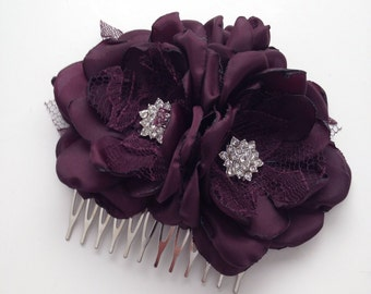 Hair Comb - Plum Purple - Fabric Flower Hair Comb, Dark Purple, Plum Purple, Deep Purple, Eggplant Purple, Satin Flowers, Purple Lace